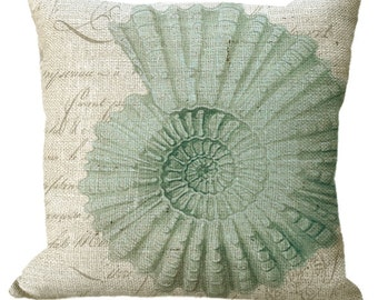 Burlap Seashell in Natural or Sea Green or Aqua or Blue Seashell Choice of 14x14 16x16 18x18 20x20 22x22 24x24 26x26 inch Pillow Cover
