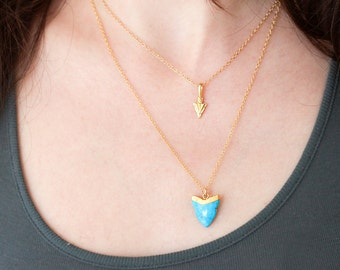 Layered Necklaces Set - Blue Turquoise Tooth Pendant - Chevron Arrow Charm- Shark Tooth Necklace - Gold Necklace - Layering Jewelry