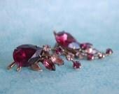 Vintage Amethyst Rhinestone Clip-on Earrings - Beajewels - 1960s