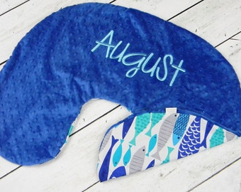 Boppy Pillow Cover- Personalized Boppy Cover- Blue Fish Print Back and Blue Minky Front Boppy Cover