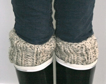 Boot Cuff Toppers,Boot Warmers,Handmade Knitted Warmers,Boot Socks // Oatmeal // THE CALGARY CUFFS