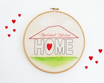 Personalized family sign, custom home sign, established sigh, last name home décor, wedding, housewarming, anniversary gift, embroidery hoop