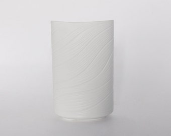 Modernist White Bisque Oval Vase With Stripes-  Rosenthal Studio Linie 1960s