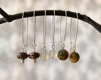 Earth Tone Earrings, Brown Green Earrings, Nature Lover Jewelry, Interchangeable Earring Set, Mothers Day Gift