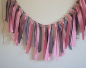 Fabric garland fabric garland Wedding Garland Grey and Pink Rag Tie Banner Garland Gray and PInk Garland (Custom orders welcomed)
