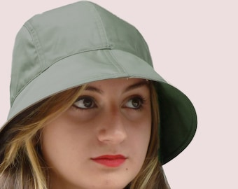 Rain Forest Bonnet, Cloche Hat with Wide Brim in Sage Green Waterproof Rainwear Fabric, Soft and Packable