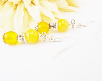 Bold Yellow Earrings, Czech Glass Earrings, Beaded Earrings, Summer Earrings, Wedding Earrings, Bridesmaids Earrings, Boho Bridal Earrings