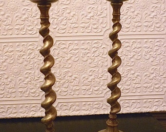 Antique Brass Candlesticks. Federal Style.