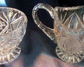 Beautiful Cut Leaded Crystal Sugar and Creamer Set