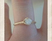 Snow White- raw rough diamond - 14 k gold one of a kind ring-spiderweb style-Ready to ship