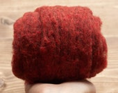 Rust Red Needle Felting Wool, Wool Batting, Batts, Wet Felting, Spinning, Dyed Felting Wool, Barn Red, Red Ochre, Fiber Art Supplies
