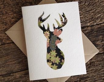 Flower Deer Head Card