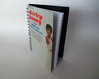 Notebook SHIRLEY BASSEY Journal Handmade A5 Recycled Notepad Vintage Record Jotter Music 1980s