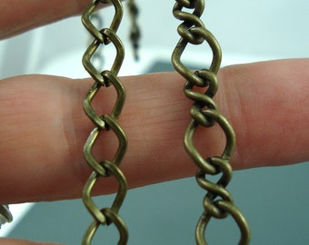 Destash Two Pieces Brass Oval Twist Chain, Two Styles Large Link Chain