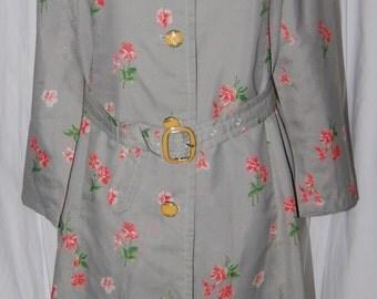 vintage raincoat, Sanyo house of fashion, 80s retro floral & optic dot, rain jacket, rain gear, april showers