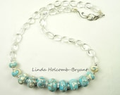 Necklace of White & Turquoise Handmade Lamwork Glass Beads