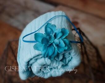 Small Newborn Headband, Newborn Cheesecloth, Turquoise Baby Headband, Turquoise Newborn Headband, Cheesecloth Wraps, Newborn Photo Prop