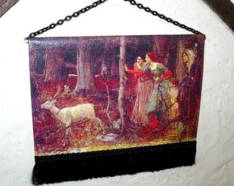 Mystic Woods Medieval Tapestry, Dollhouse Miniature 1/12 scale, Hand Made