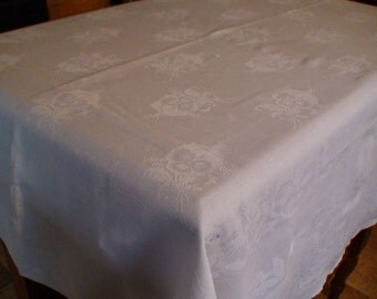 Linen Damask Table Cloth, Tablecover, Floral Design