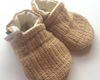 Organic colorgrown cotton and Leather Soft Soled Shoes