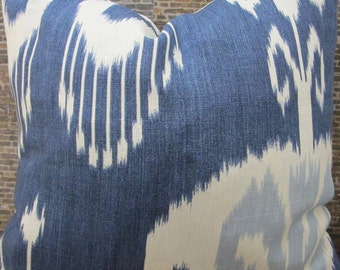 3BM Designer Pillow Covers -16 x 16, 18 x 18, 20 x 20, 22 x 22, 24 x 24, 26 x 26 - Bansuri Ikat Asymmetrical - Iris Blue