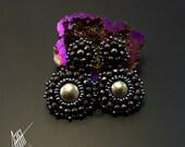 Beadwork, bead embroidery, beaded,silver stud earrings with pyrite,hematite and Toho beads.