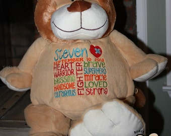 CHD personalized lion Warrior Pet, stuffed animal