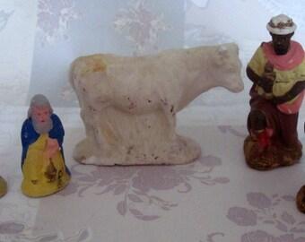 french vintage set of 5 chalk nativity figures