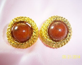 Vintage Designer Signed Kenneth Lane Brown Swirl Button Clip-on Earrings