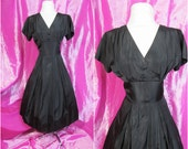 Vintage 50s Full Skirt LBD. Black Taffeta Shelf Bust 1950s Cocktail Dress. Metal Zip. Original Sparkly Buttons. As Is. M - L