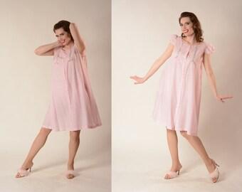 Vintage 1950s Pink Babydoll Nightie - Henson Kickernick - Lingerie Fashions Size M