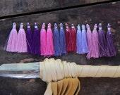 "Orchid : Purple, Pink, Art Silk Tassels from India, Fresh Spring, Summer Colors, Jewelry Making Tassels, Craft Supplies, Boho Tassels, 2"""