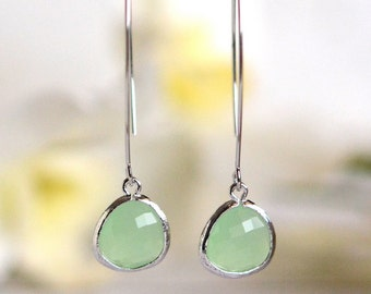 Simple Mint Drop Earrings. Dangle Earrings. Long Drop Earrings. Simple Earrings. Bridesmaids Gift.  Mint Wedding Jewelry. Bridal.