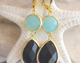 Black Teardrop and Aqua Stone Dangle Earrings in Gold. Black Jewel Dangle Earrings.  Blue Black Earrings. Jewelry Gift. Earrings.
