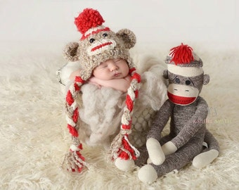 Sock Monkey Hat - Crochet Unisex Baby or Toddler Beanie - Super Soft with Pom Pom in Oatmeal, Red and Cream