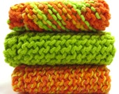 Knit Dishcloths Set of Three Lime Green Orange Cotton Wash Cloths for Kitchen Cleaning Grandma's Favorite Dish Cloth Citrus