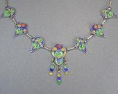 Vintage Berber Enamel & Coral Necklace, Moroccan Jewelry, Tribal, Ethnic, Boho