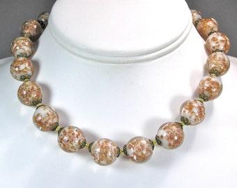 Venetian Murano Adventurine Sommerso Bead Necklace, Wedding Party Jewelry, Italian Glass