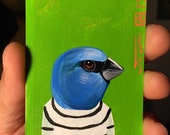 Blue Grosbeak portrait on a playing cards. Original acrylic painting. 2013