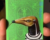 Giant Anteater on a playing cards. Original Acrylic Paintings. 2013