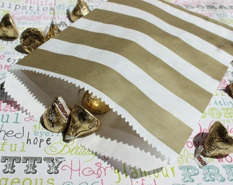 100 Gold Metallic Rugby Stripe Candy Bags, Wedding Candy Bags, Popcorn Bags, Party Favor Bags