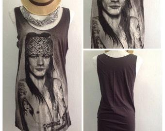 Alex Gun' N Roses  Singlet Tank Top T-Shirt Mini Dress