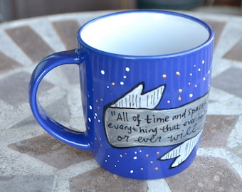 "Doctor Who ""All of time and space"" Eleventh Doctor Quote - Hand painted, med/small, midnight blue mug - Moon, stars, and silver banner"