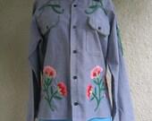 Vintage Denim Shirt - Embroidered shirt - Chambray Shirt - American Folk Art  - One of a Kind
