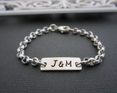 Nameplate Bracelet, Name Plate Bracelets, Engraved Bracelet, Personalized Initial, Minimalist, Silver Bar Bracelet, Couple Initial, Gift