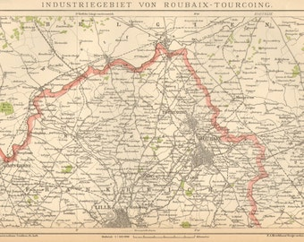 1895 Original Antique Map of the Industrial Region of Roubaix and Tourcoing, France
