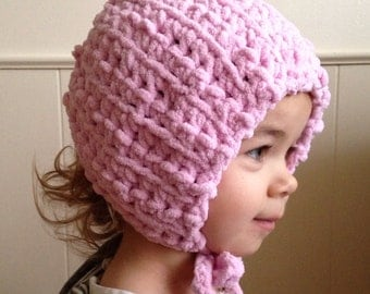 CLEARANCE soft PINK BONNET winter hat girls kids baby toddler chenille tie on