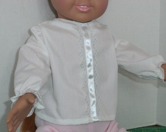 Long Sleeve White Blouse, 18 inch dolls, Ready to Ship