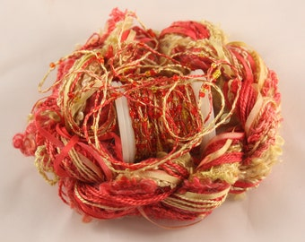 Bright red gold yellow Beaded yarn Silk Embroidery thread Weaving Supplies Hand dyed Sewing quilting thread sequin thread Embellishments