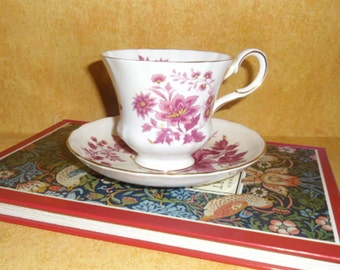 Vintage Cup and Saucer - Royal Tuscan Bone China, Burgundy Floral, Gold Trim, Wedgwood Group, Made in England, Shower Gift, Mother's Day